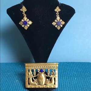 Egyptian Revival Brooch and Earrings